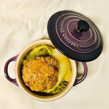 Li跟著做了鑄鐵鍋料理-娃娃菜砂鍋獅子頭