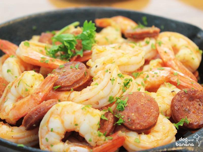 香蒜西班牙臘腸炒鮮蝦