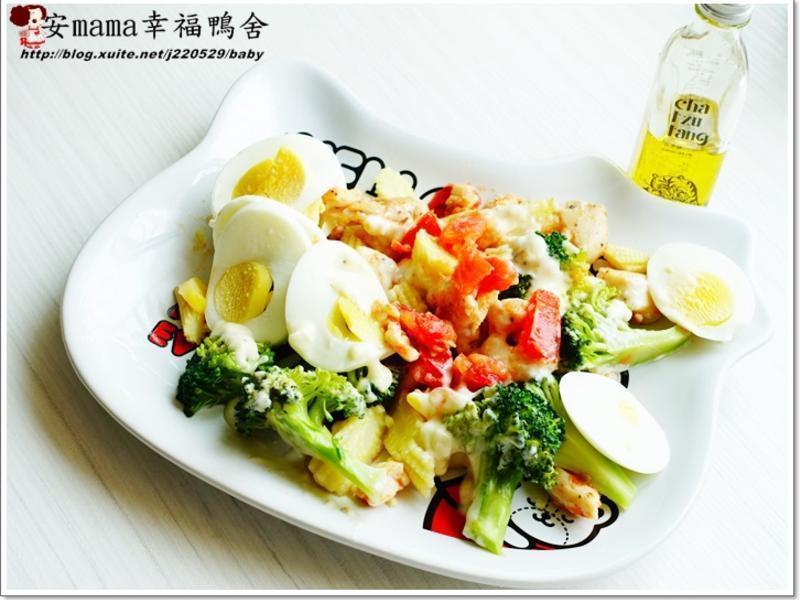 番茄雞肉沙拉佐茶油凱薩醬自然好油×茶籽堂