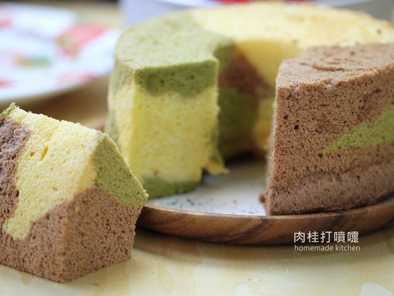 迷彩三色戚風蛋糕