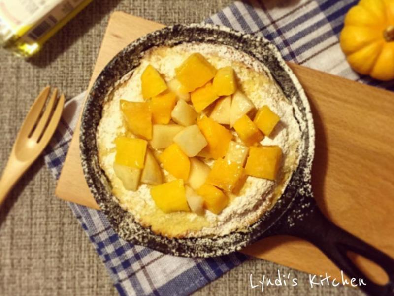 超簡單水蜜桃芒果熱鍋鬆餅