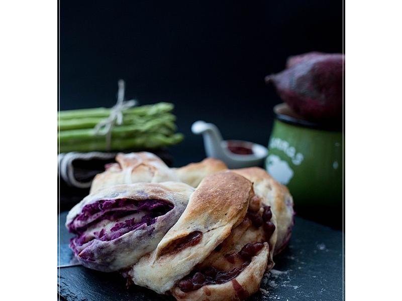 紫薯紅豆燕麥包