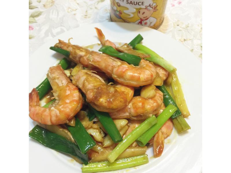 咖哩葱爆鮮蝦【牛頭牌咖哩新食代】