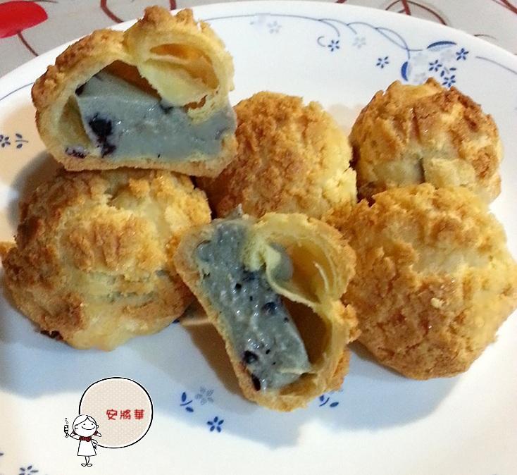 菠蘿泡芙~藍莓卡士達鮮奶油餡