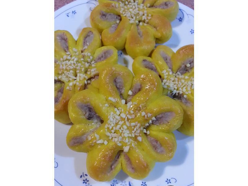 南瓜芋泥椰絲花麵包~直接法