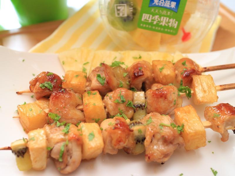 鳳梨雞肉串燒_小七食堂