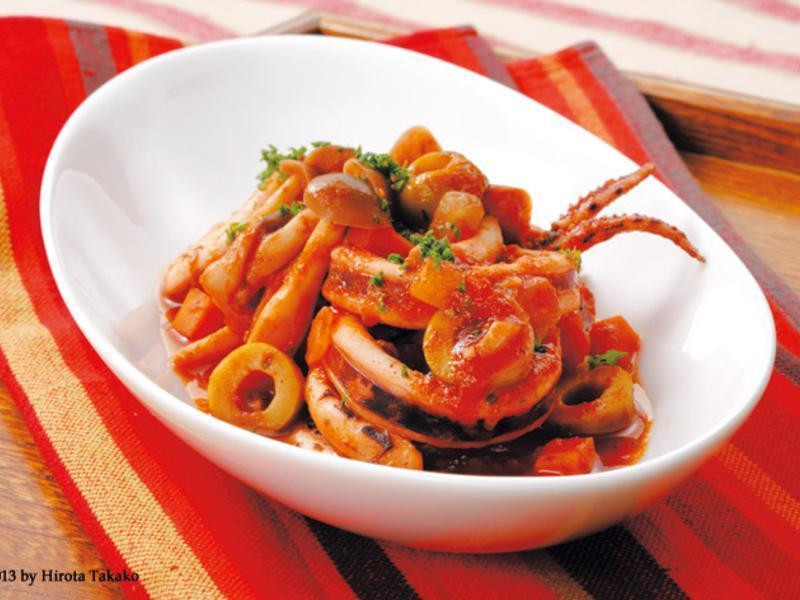 魷魚燉番茄蔬菜