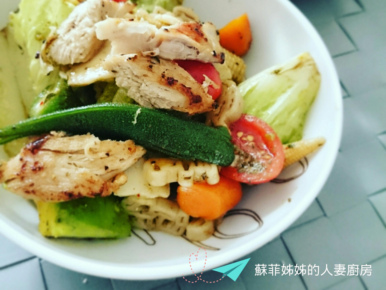 香料雞胸肉義大利麵沙拉