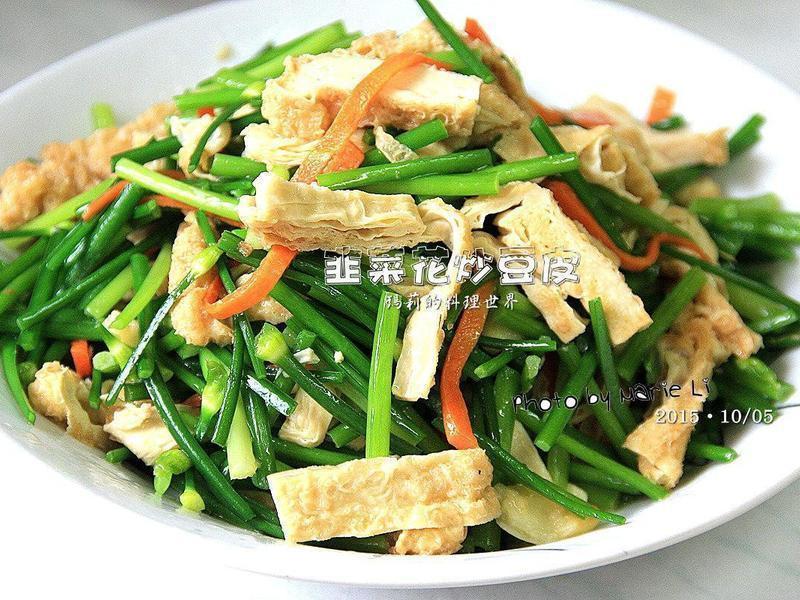 瑪莉廚房:韭菜花炒豆皮
