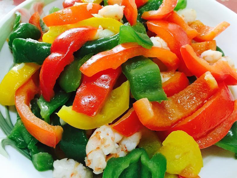 彩椒炒鮮蝦