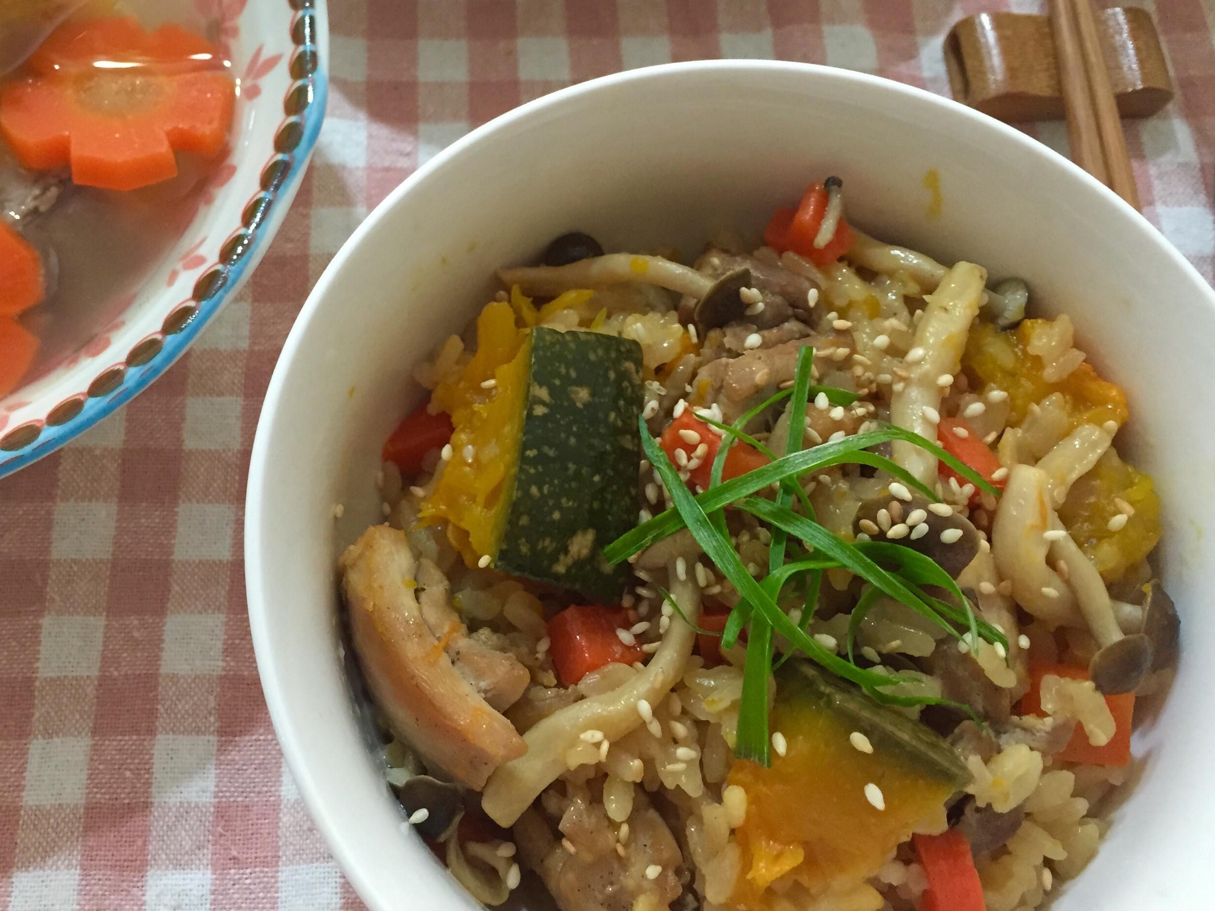 【秋作】~日式南瓜雞肉雜炊飯