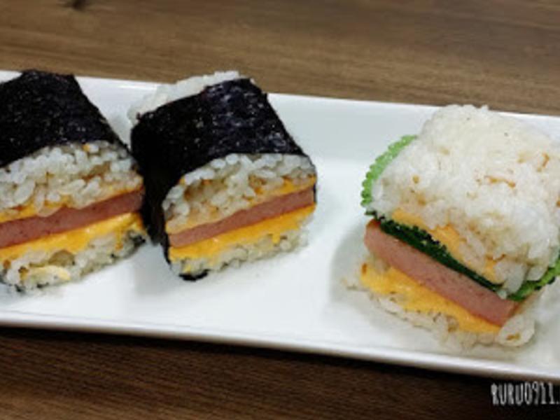 韓式餐肉鐵盒飯糰스팸밥버거