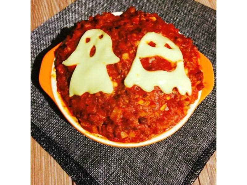 可愛幽靈杏鮑菇肉醬麵
