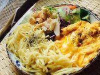 燻雞莎拉+英式炒蛋+白醬義大利麵