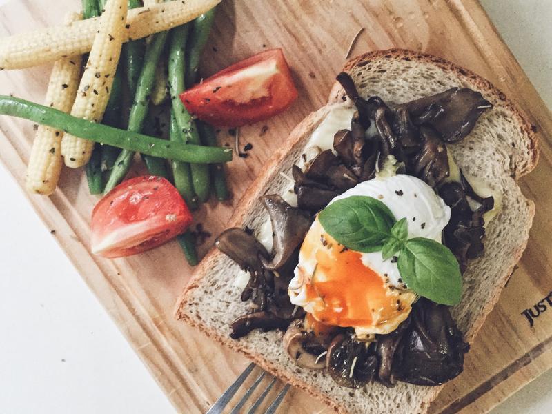 義式酒醋蕈菇水波蛋土司-早午餐優選