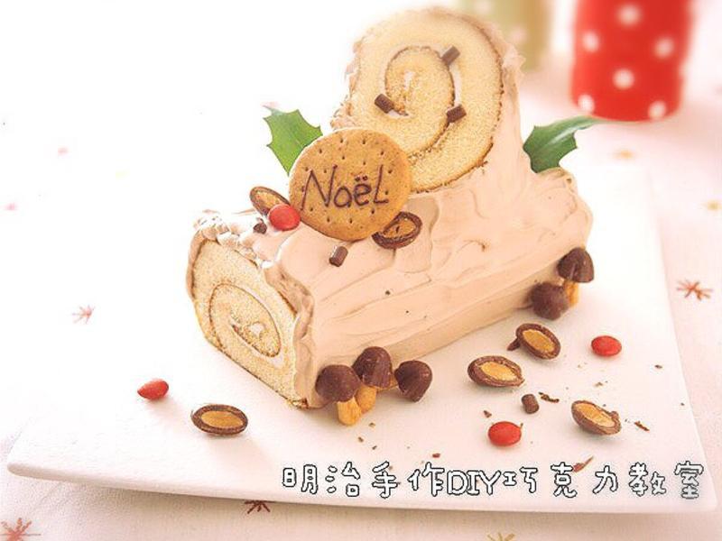 聖誕節特輯: 超簡單!巧克力聖誕樹幹蛋糕