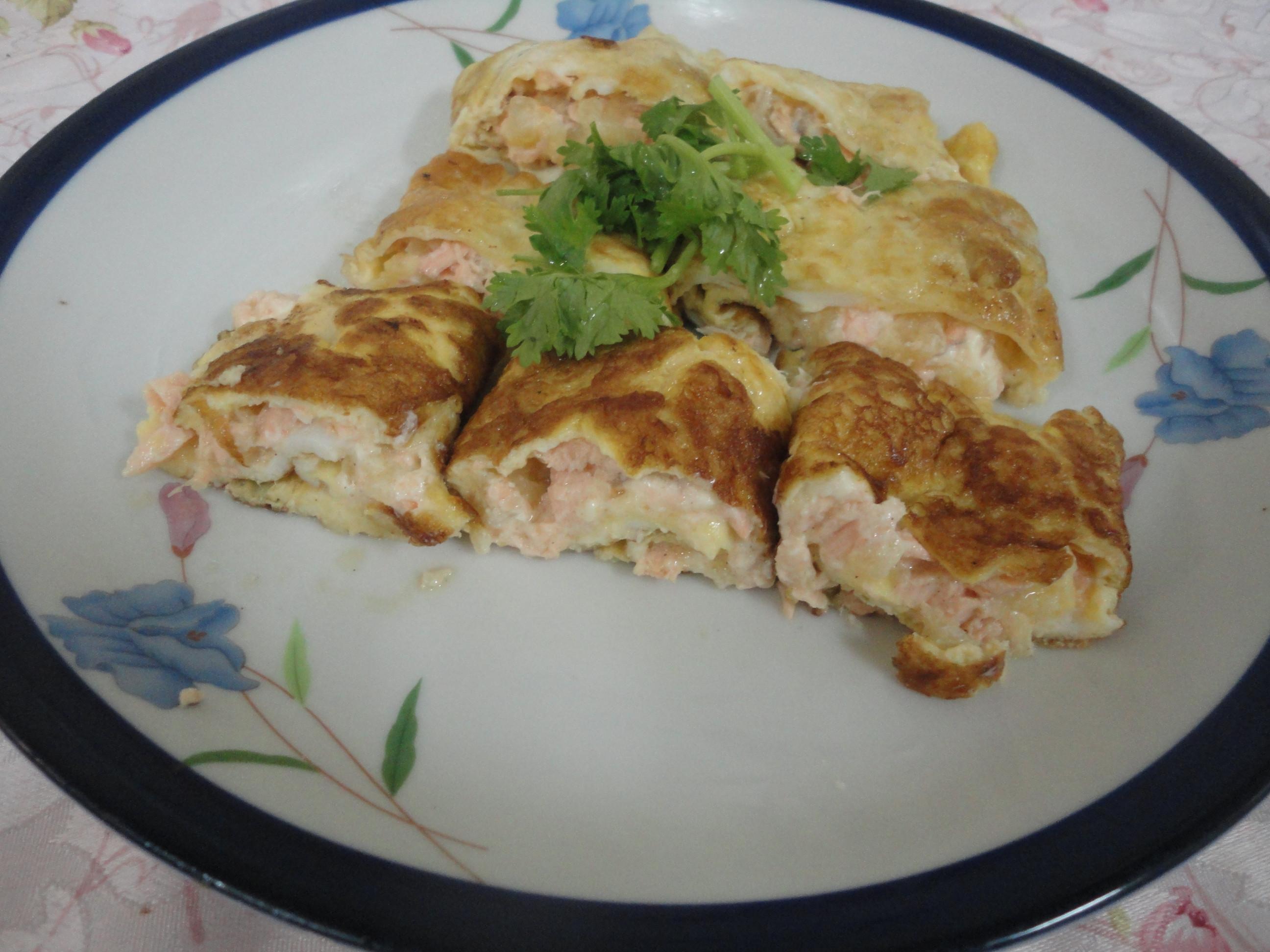 起士鳳梨鮭魚蛋捲(副食品  1歲以上)