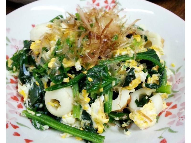 菠菜竹輪炒蛋