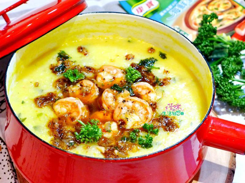 黃金玉米海鮮粥佐香煎油漬蝦仁