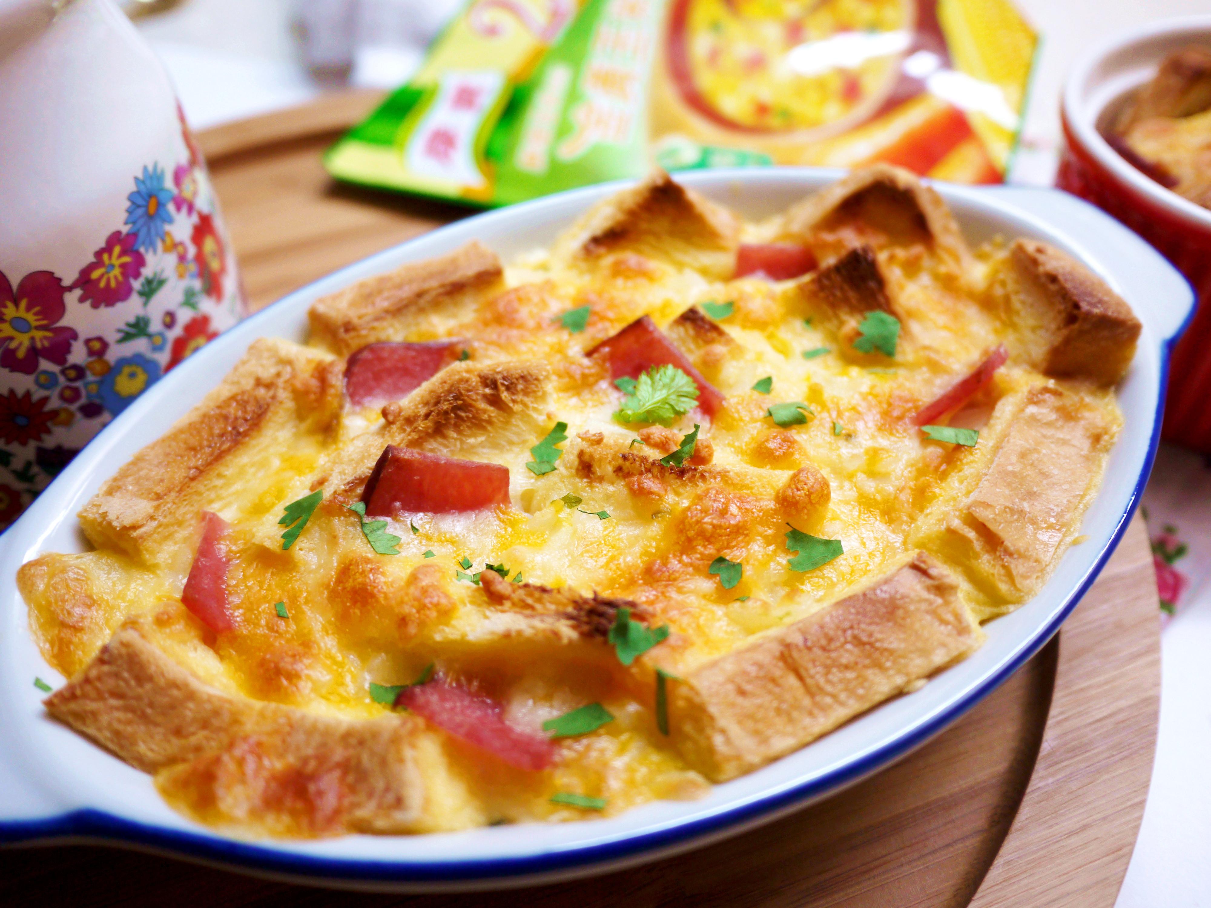 暖暖的~焗烤麵包布丁玉米粥