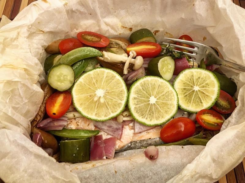 時蔬烤鮭魚