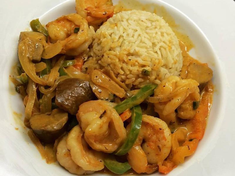 泰式紅咖哩炒蝦仁