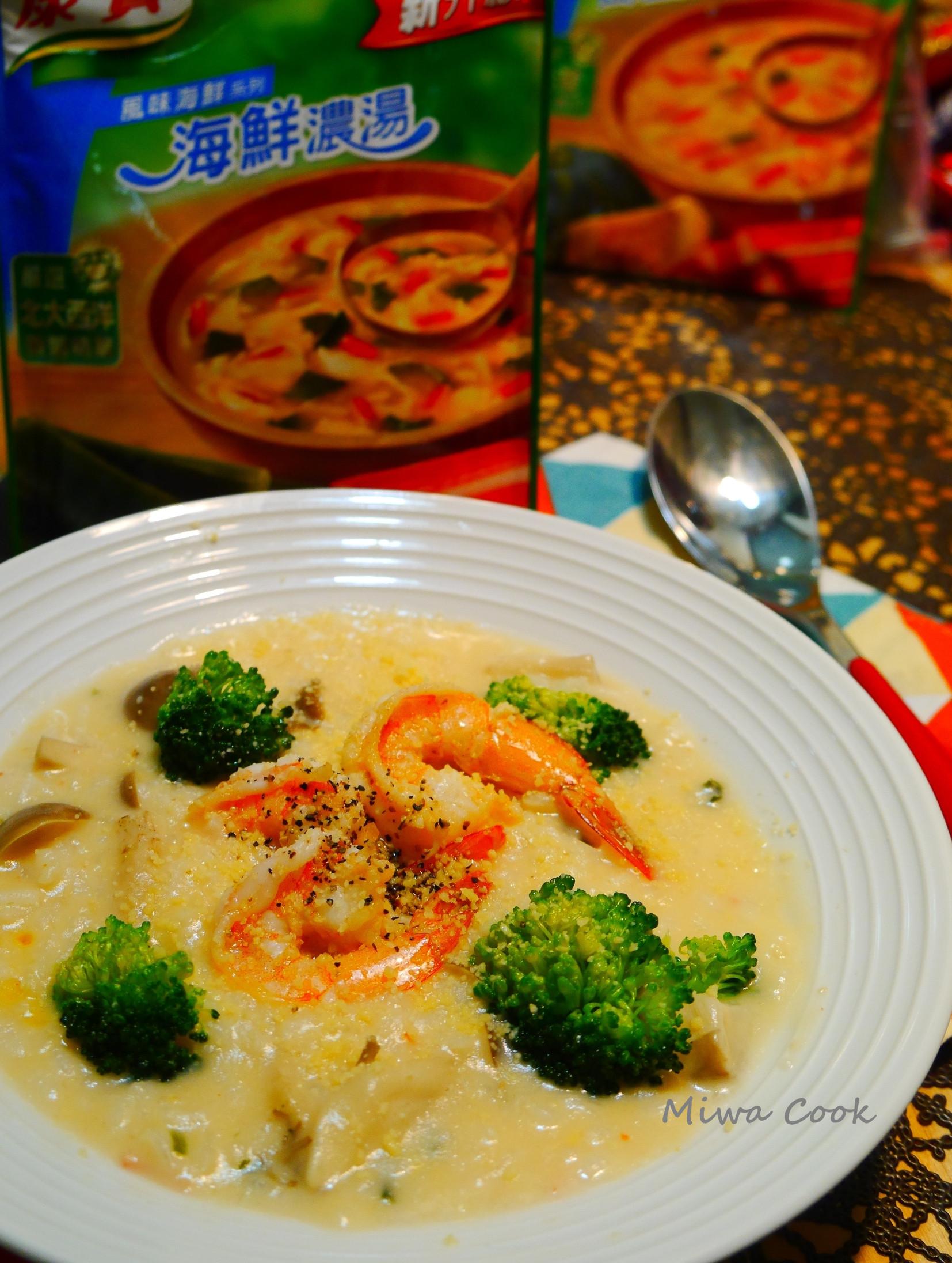 6分鐘煮異國料理-鮮蝦菇菇起司海鮮粥