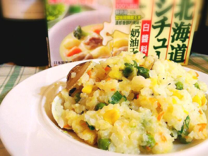 青豆蛤蠣奶油燉飯【好侍北海道白醬料理】