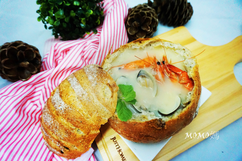 海鮮濃湯麵包盅[好侍北海道白醬料理]
