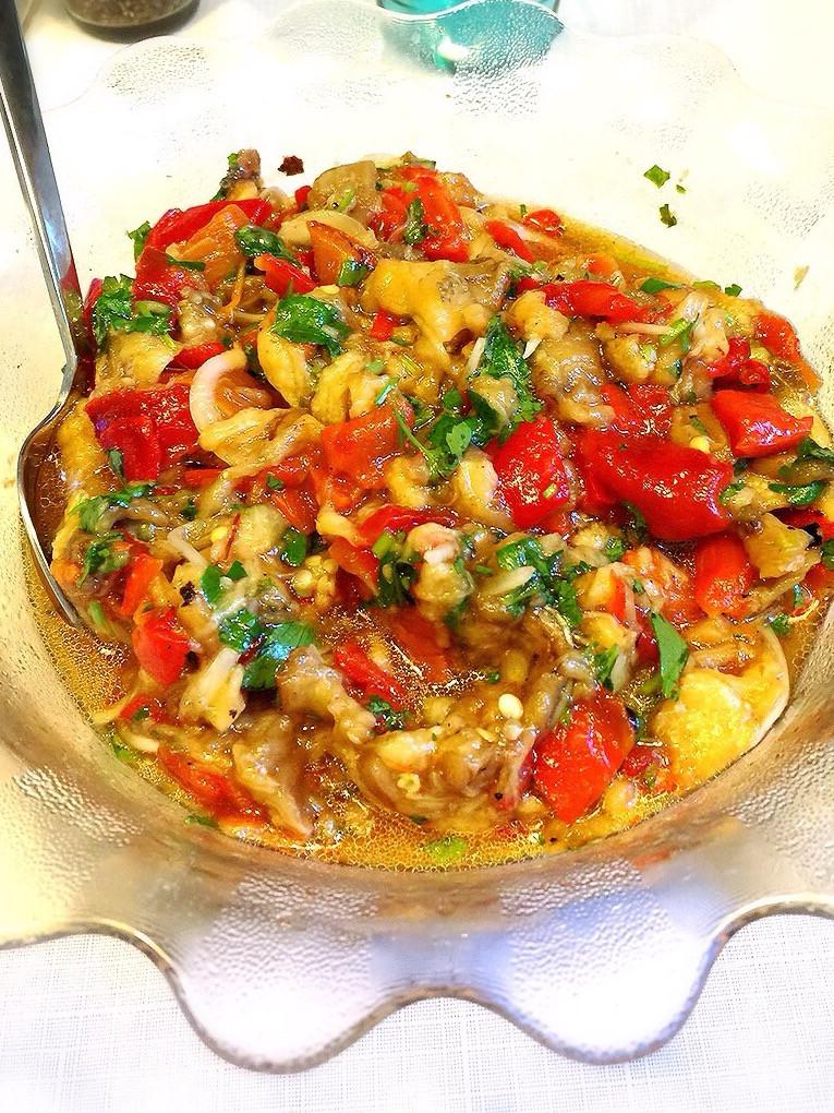 橄欖油涼菜5---烤茄子紅椒沙拉