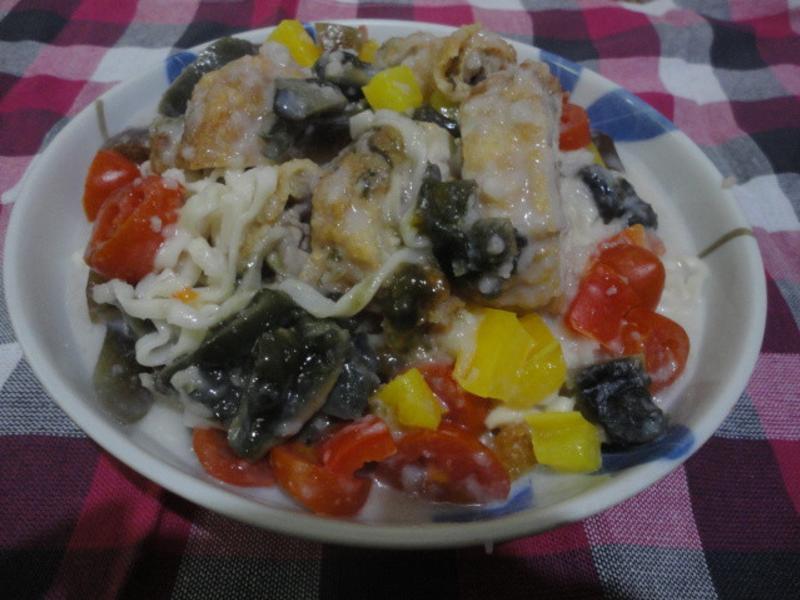 皮蛋炸雞義大利麵(好侍北海道白醬料理)