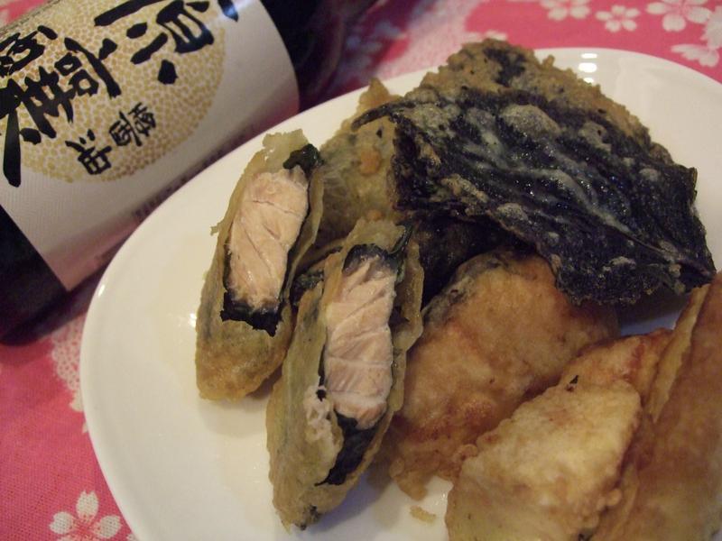 日式天婦羅~紫蘇鮭魚,紫蘇山藥