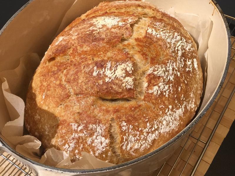 大橢圓的免揉歐式麵包-橢圓鑄鐵鍋