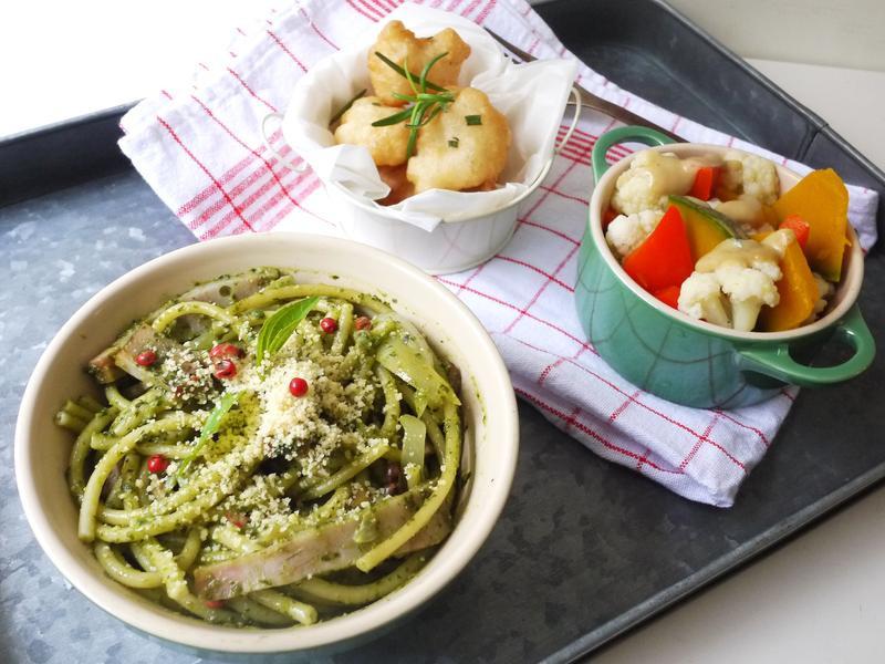 一鍋出一桌:青醬義大利麵+溫沙拉+炸魚塊