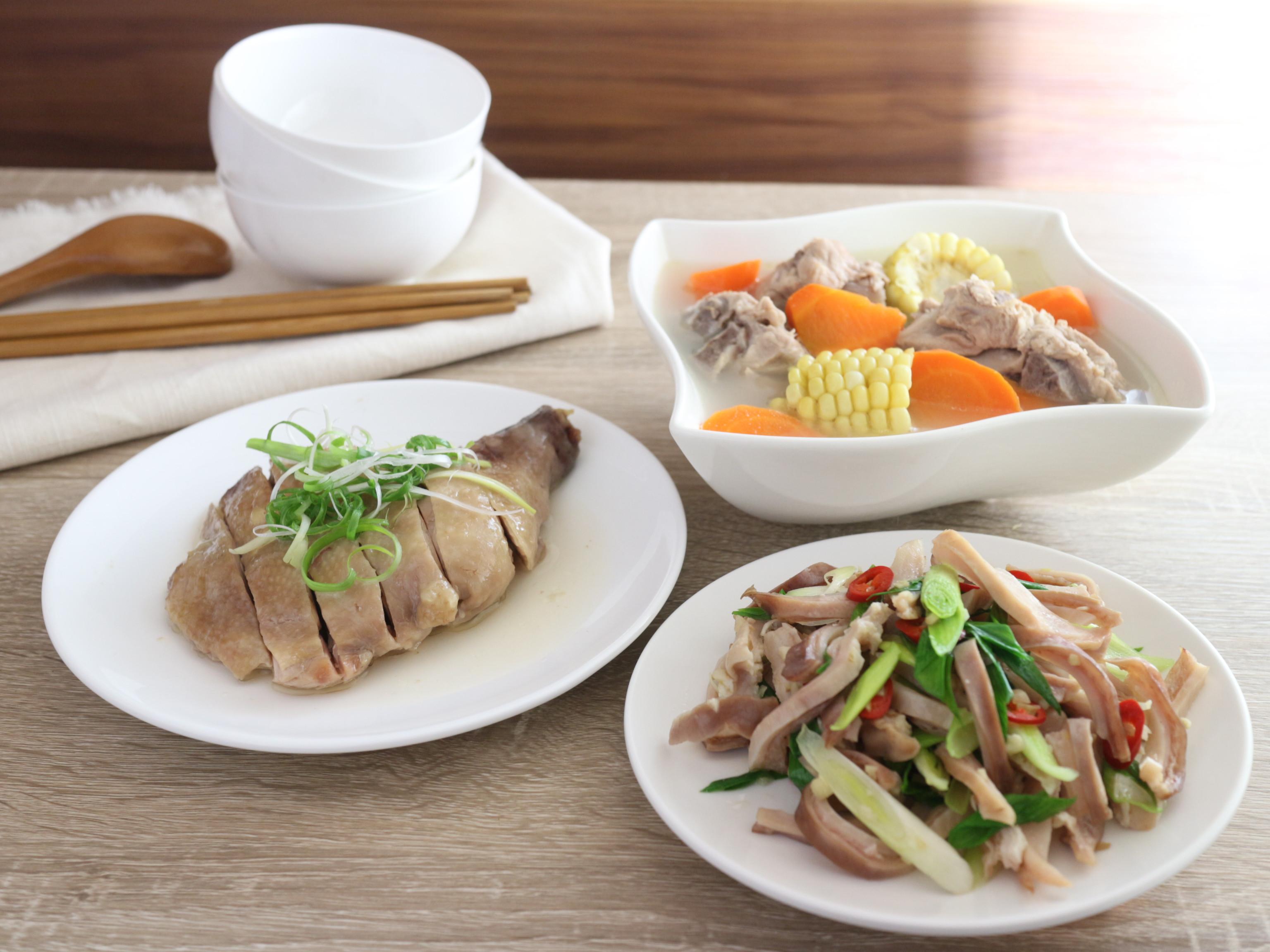 一鍋出一桌:青蒜豬肚+鹽雞腿+玉米排骨湯