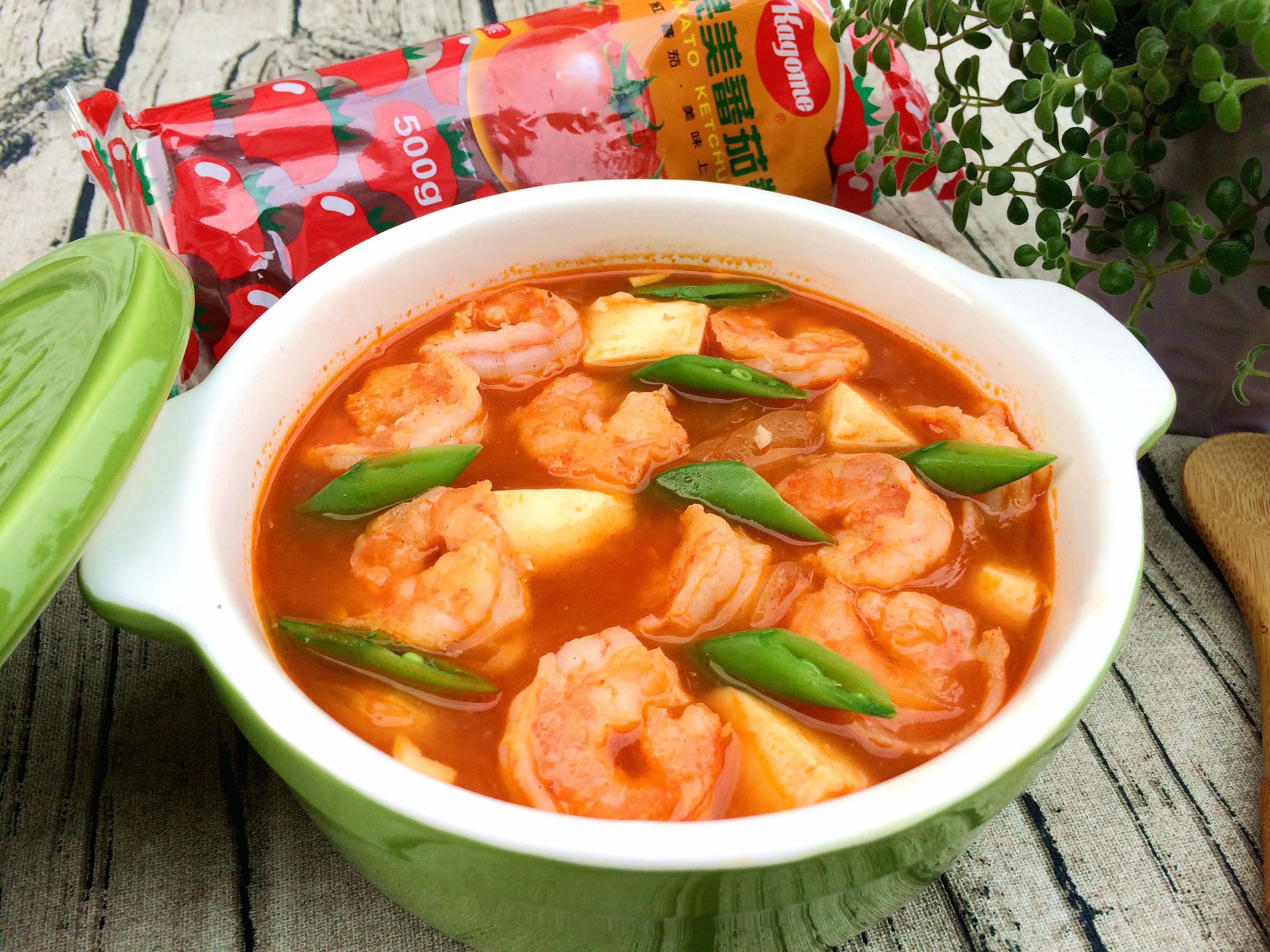 茄汁蝦仁燴豆腐~蕃茄醬懶人料理