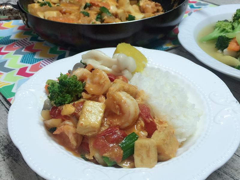 茄汁蝦仁豆腐
