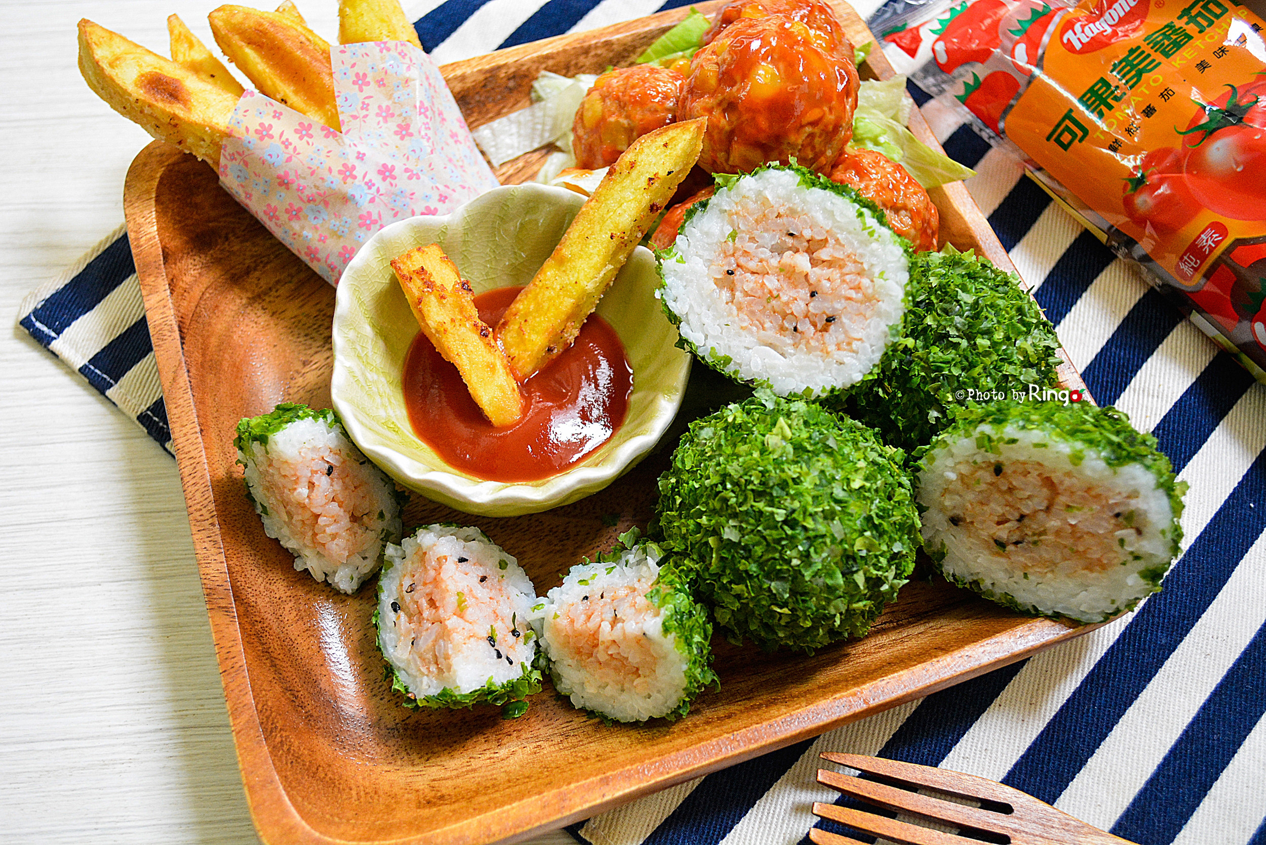 西瓜飯糰肉丸子套餐【蕃茄醬懶人料理】