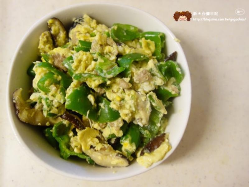 青椒香菇肉末蛋