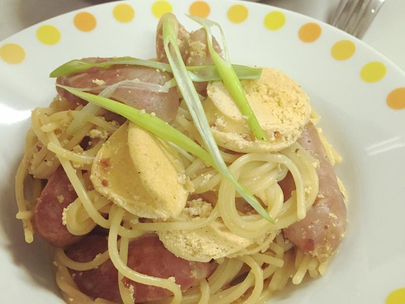 麻辣台式香腸魚卵義大利麵