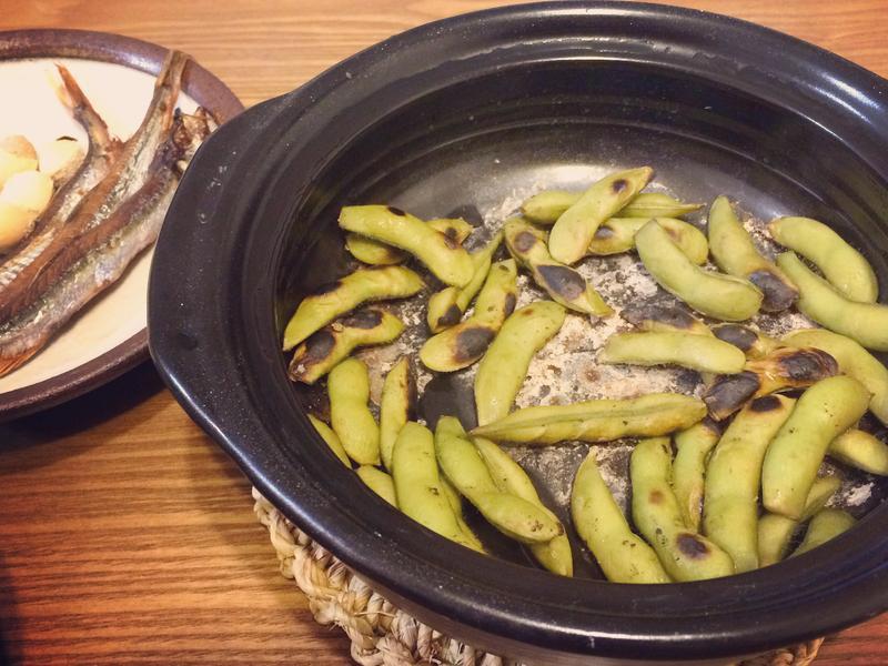 土鍋鹽烤毛豆
