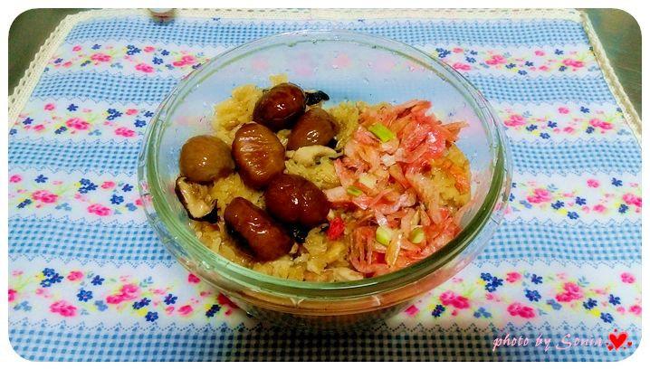 栗子櫻花蝦油飯(簡易電鍋版)