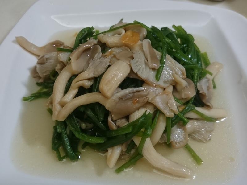 香蔥鵝油鮑魚菇拌水蓮