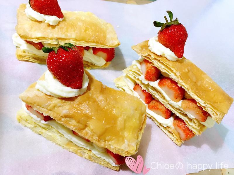 卡士達草莓千層派-快速版