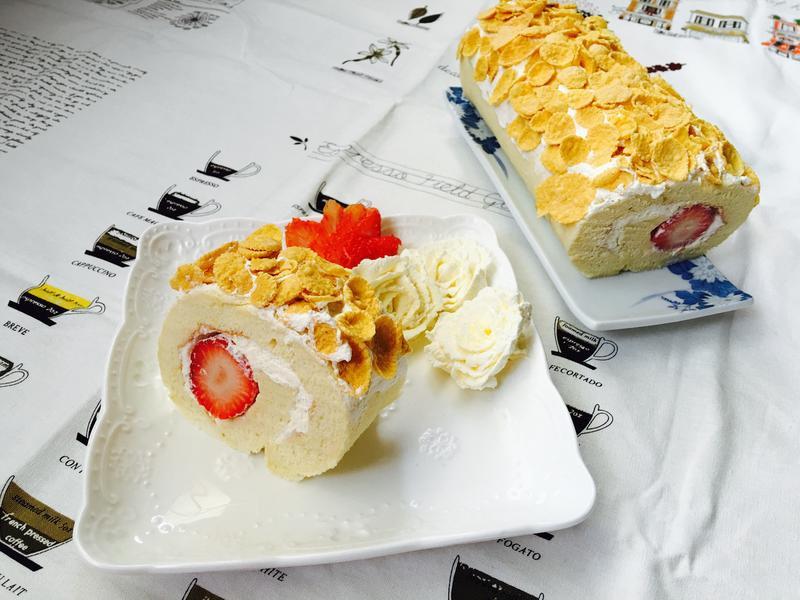 草莓脆片蛋糕卷 『雀巢玉米脆片』