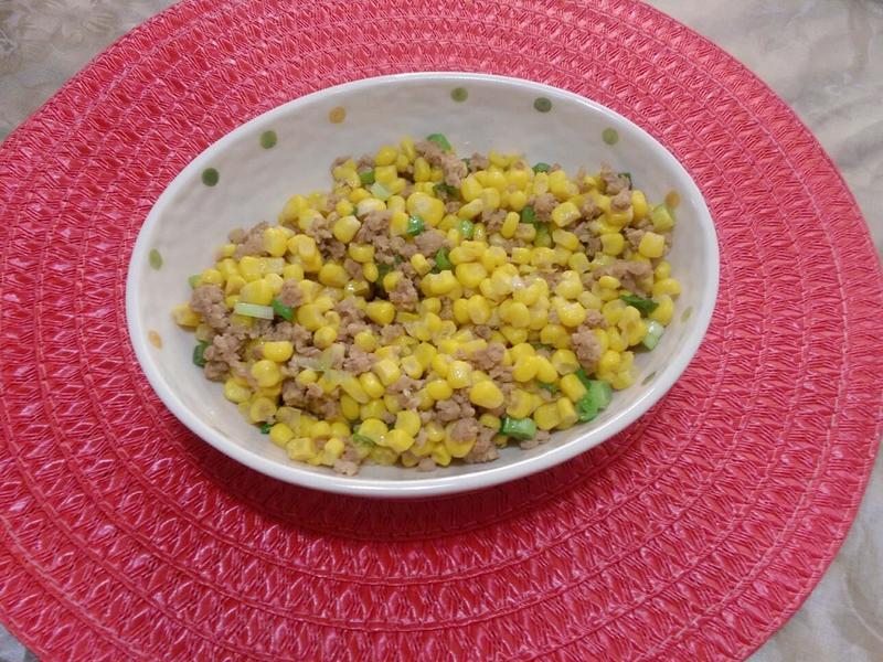 玉米粒炒肉末