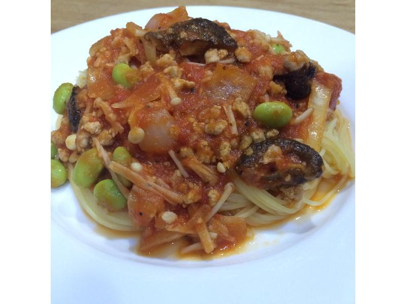 毛豆肉醬番茄天使麵