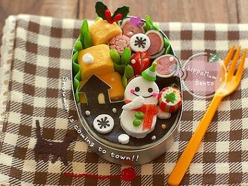 造型便當:聖誕雪人