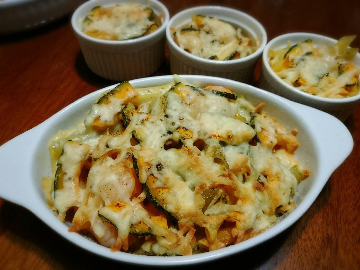 蝦仁南瓜焗烤筆管麵