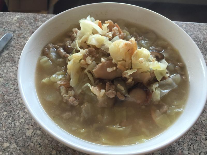 台式鹹粥-高麗菜肉末糙米粥(快速版)
